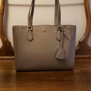 Tory Burch Robinson Saffiano Leather Tote - Gray